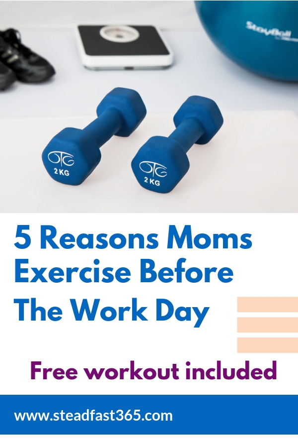 Get a free workout with this article while learning how working moms that exercise before work start the day out with a win. This article explains 5 benefits to working moms when they exercise before work. Benefits ranging from mental health to work performance. Getting that leaned out body is an awesome bonus.