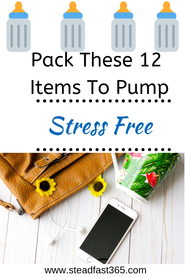 Take the stress out of pumping by packing a pumping bag with these 12 must have items. I got tired of trying to pack my pumping bag from memory. Of course that's when mom brain kicks it up a notch and you forget the key items you need the most like milk bags! Included is a free printable of this list to help with that mom brain and reduce stress. My favorite is tip #12 because it's backed by research and a simple hack that working moms use to keep up milk production.